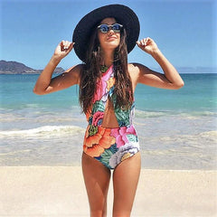 Crossed Floral One Piece