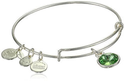"Alex and Ani ""Bangle Bar"" August Birth Month Shiny-Silver Tone Expandable Bracelet"