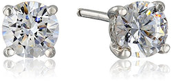 Platinum-Plated Sterling Silver Swarovski Zirconia Round Stud Earrings (1 cttw)