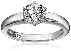 Platinum-Plated Sterling Silver Swarovski Zirconia Round Solitaire Ring (1 cttw), Size 5