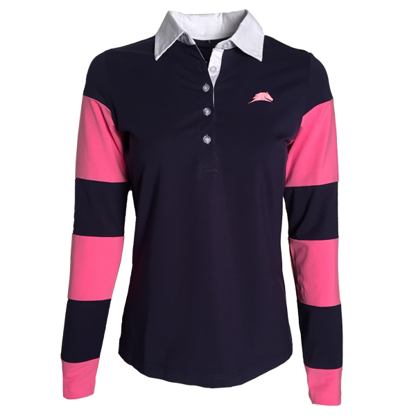 Navy and Pink Long Sleeve Striped Parelli Polo