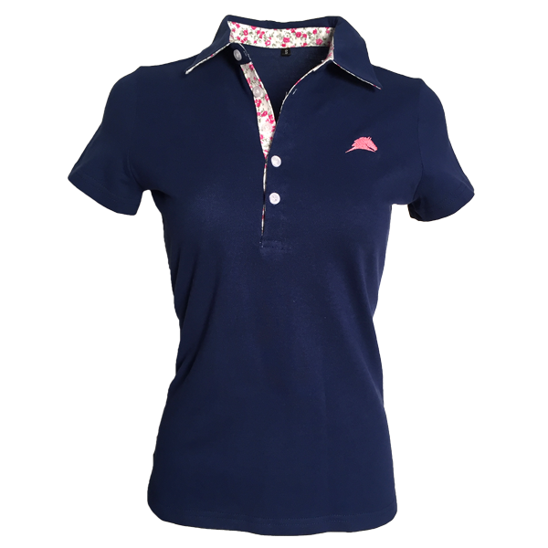 Navy Blue Flower Detail Parelli Polo