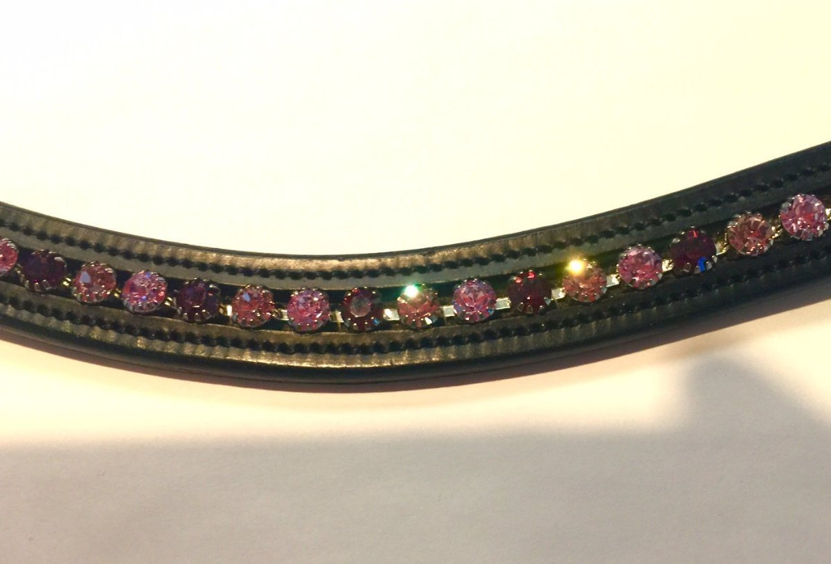 English Browband Curvy with Purple and Pink Stones