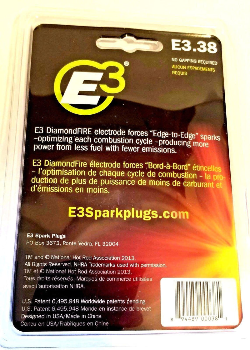 ATV E3 Spark Plugs E3.38 Replaces (NGK CR7E, CR8E, CR9E CHAMPION G57C, G59C)