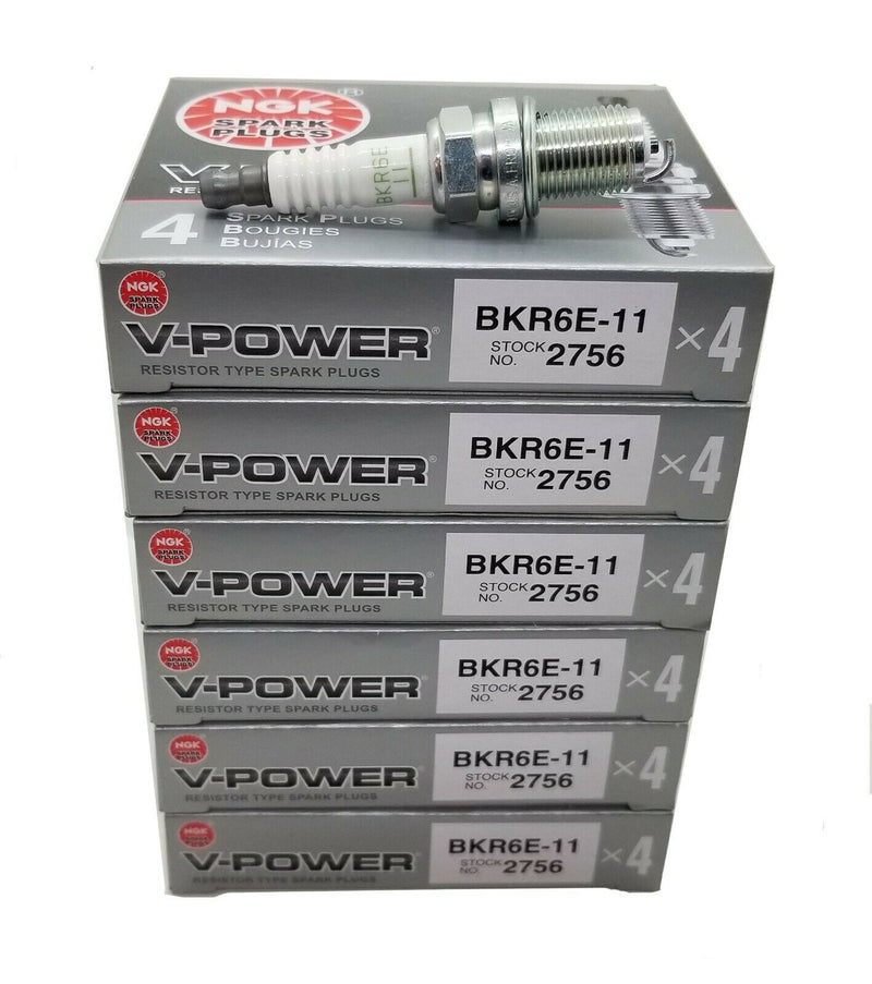 24 Plugs NGK SPARK PLUGS BKR6E-11 / 2756 V-POWER