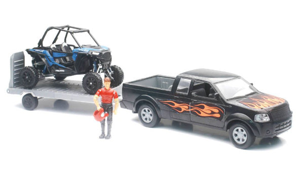 New Ray 1/18 Scale Pick Up W/Polaris RZR XP1000 & Figurine Set