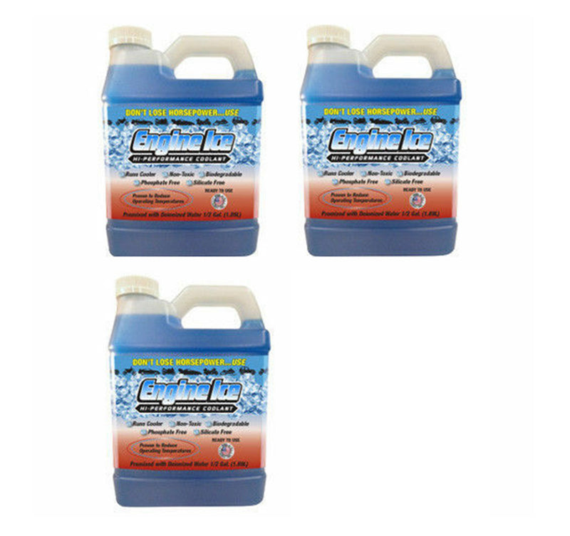 Qty 3 of ENGINE ICE 1/2 GAL High Performance Coolant Non-Toxic Biodegradable