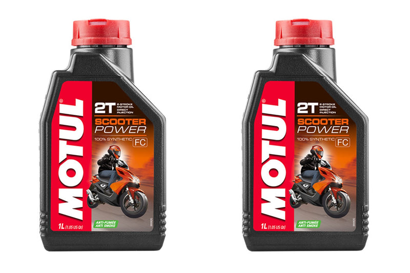 2 Containers Motul Scooter Power 2T Oil 105881 1 Liter