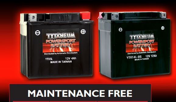 Tytaneum Maintenance Free Battery YTX12-BS w/acid