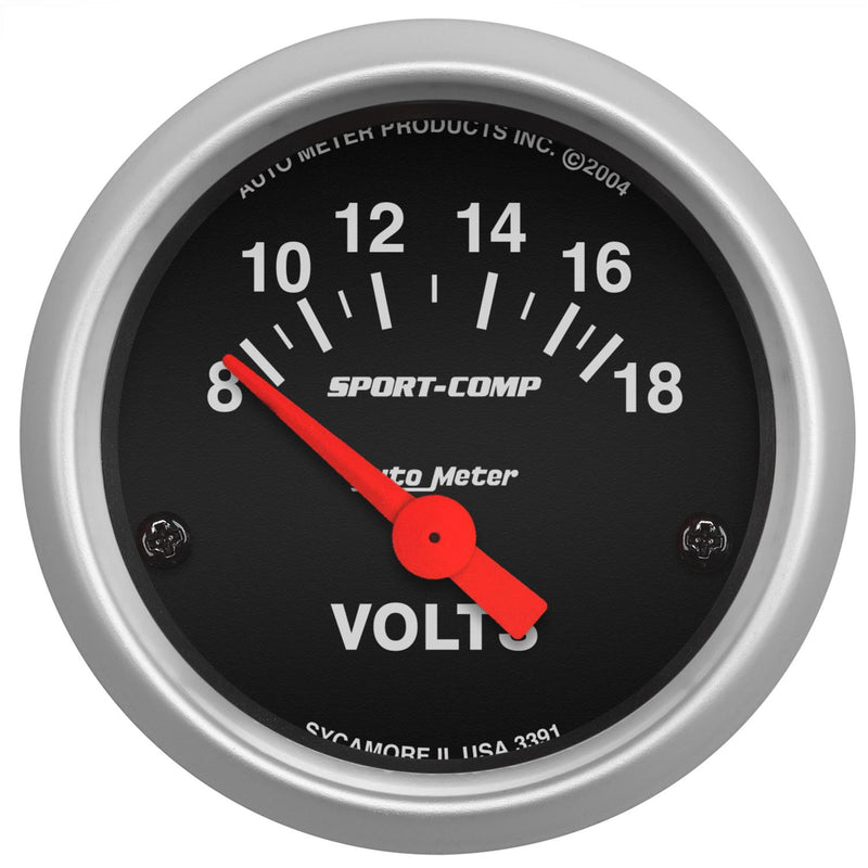 "Auto Meter Sport-Comp Voltmeter 2-1/16"" Electrical 3391"
