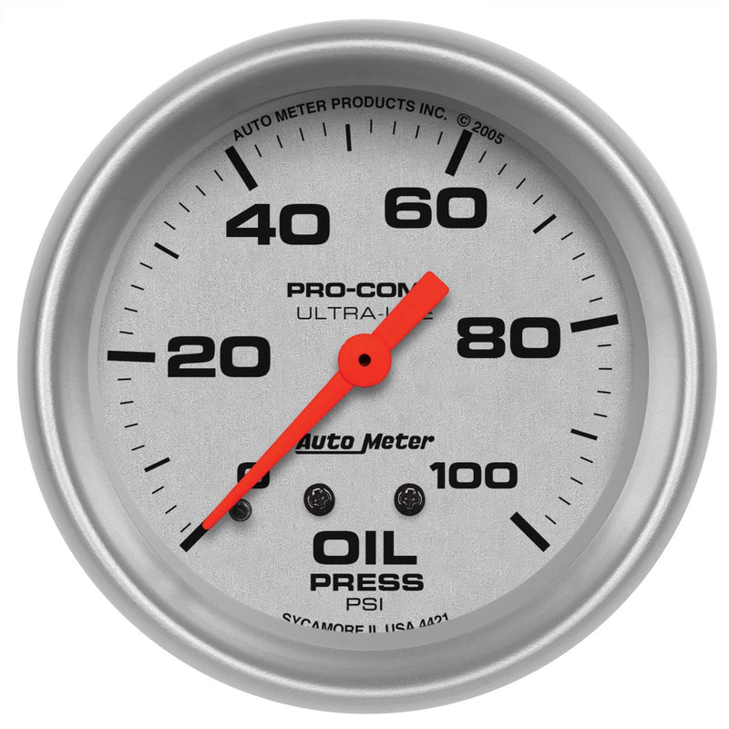 "Auto Meter Ultra-Lite Oil Pressure Gauge 2-5/8"" mechanical 4421"