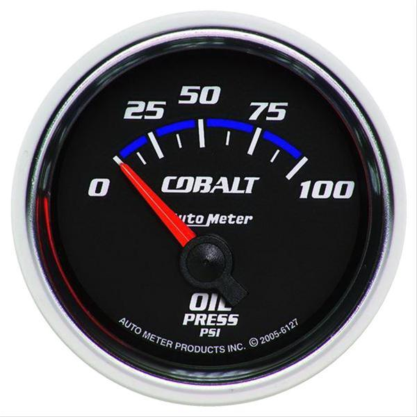 "Auto Meter Cobalt Oil Pressure Gauge 2-1/16"" , electrical short sweep 6127"
