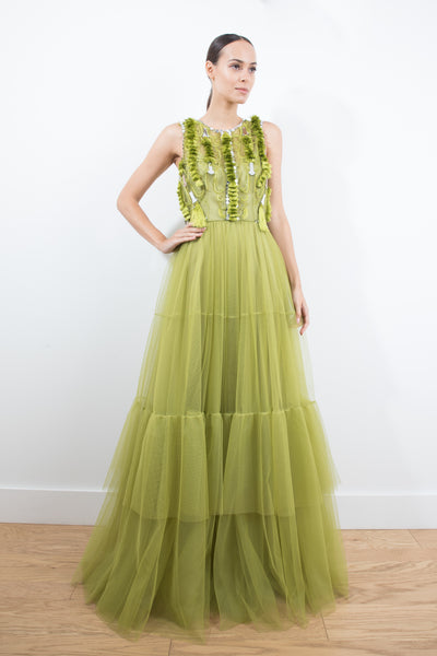 Green Tulle Gown With Top Embroidery