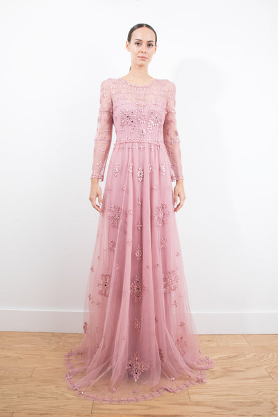 Long Sleeved Full Body Crystal Embroidery Gown jorge vazquez