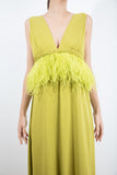 V Neck Dress With Feathers Applications jorge vazquez