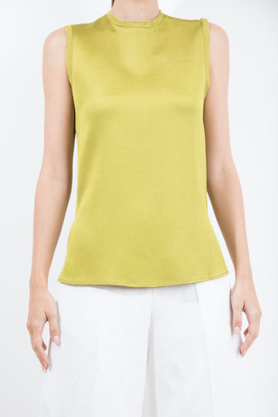 Sleeveless Lime Top With Raw Edge jorge vazquez