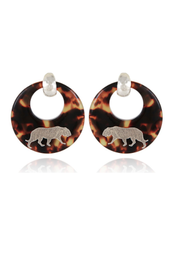 Tigre Earrings Acetate Gold - Tortoise