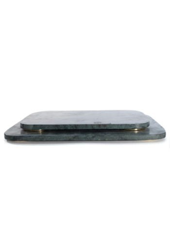 Mara Marble Serving Board - Large - Green / Brass Hawkins New York