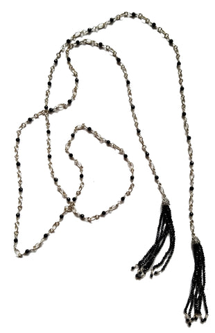 KIR black spinel and sterling silver lariat necklace