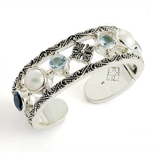 Small Kirsten Mixed Stone Cuff - bracelet - KIR Collection - designer sterling silver jewelry