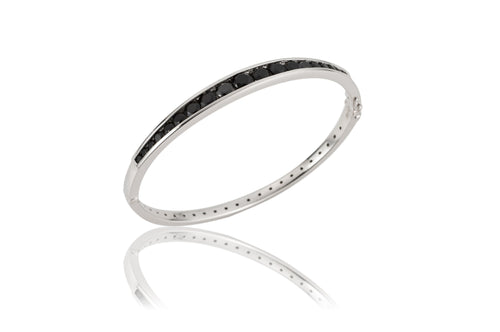 Channel Oval Bangle - bracelet - KIR Collection - designer sterling silver jewelry