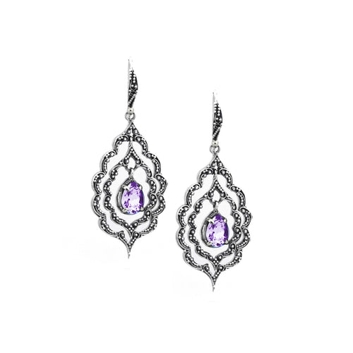Marjorie Marquis Earrings - earring - KIR Collection - designer sterling silver jewelry