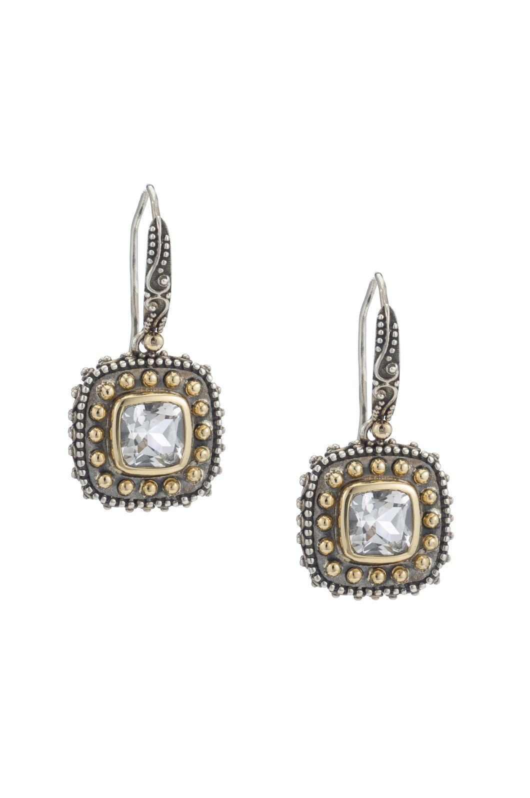 Tiffany Square Beaded Earrings - earring - KIR Collection - designer sterling silver jewelry