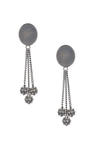 Stupa Drusy Earring - earring - KIR Collection - designer sterling silver jewelry