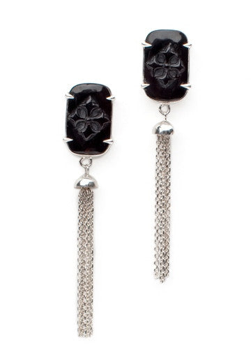 Rectangle Tassel Earrings - earring - KIR Collection - designer sterling silver jewelry