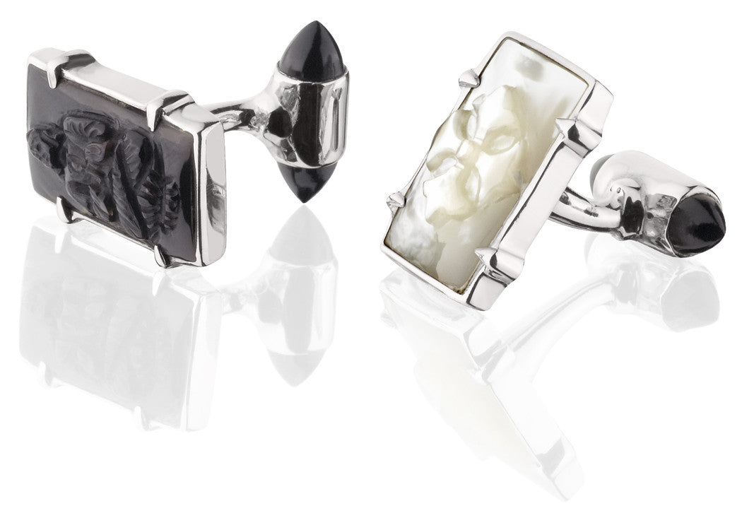 Mother of Pearl Cuff Links - cufflink - KIR Collection - designer sterling silver jewelry