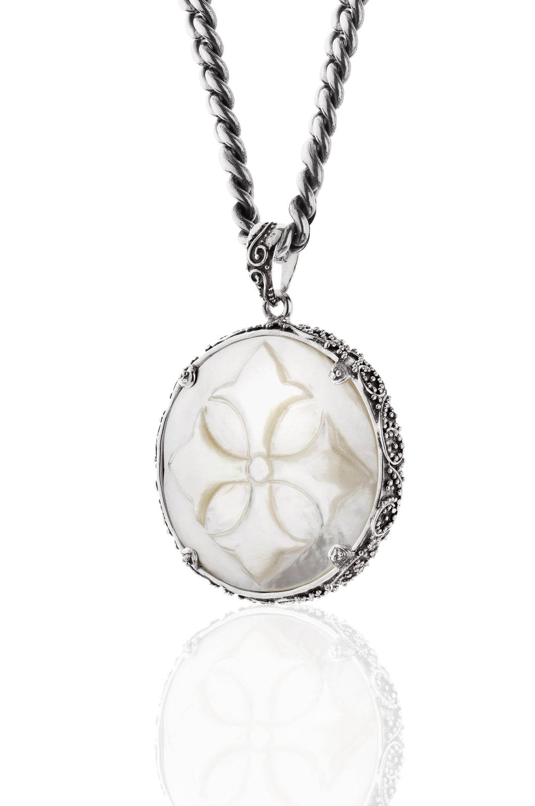 Samantha Large Round Pendant - pendant - KIR Collection - designer sterling silver jewelry