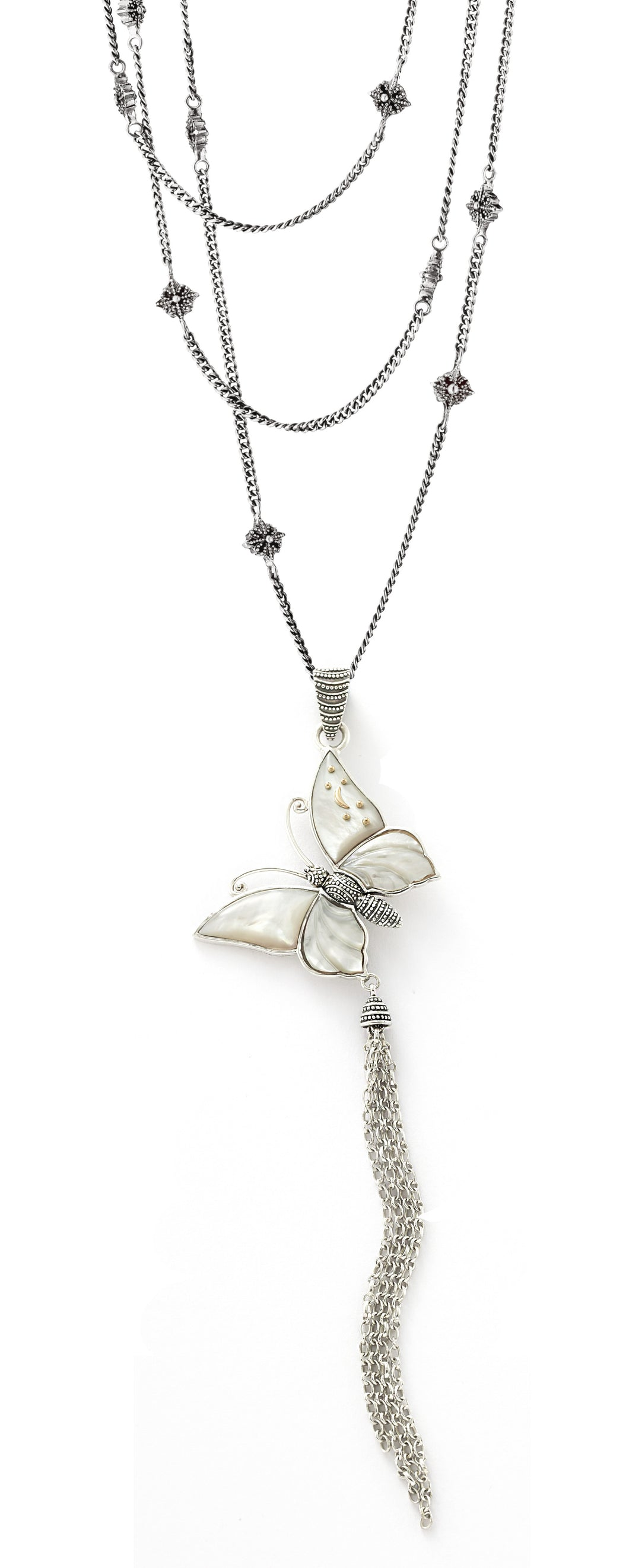 Butterfly Tassel Penadant - pendant - KIR Collection - designer sterling silver jewelry