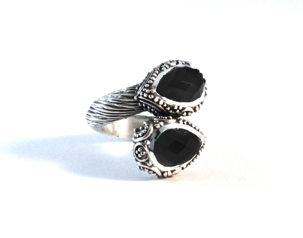 Chandi Two Stone Ring - ring - KIR Collection - designer sterling silver jewelry