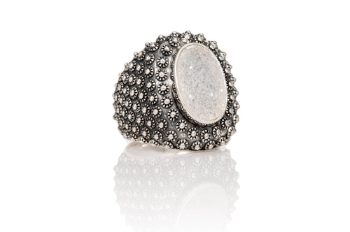 Stupa Drusy Ring - ring - KIR Collection - designer sterling silver jewelry