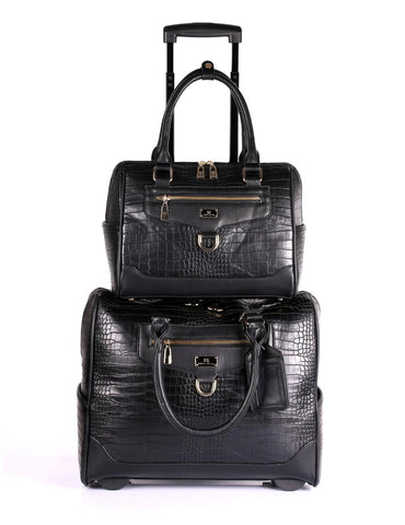 Women's RFID Professional & Travel Trolley Handbag Set Black Crocodile
