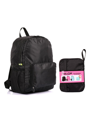 Pack n Fold Foldable Travel Backpack Black
