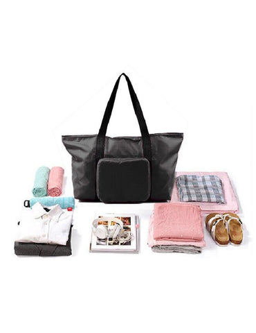 Pack n Fold Foldable Travel Tote Bag Black