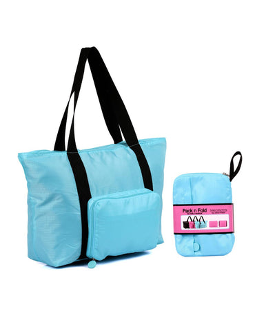 Pack n Fold Foldable Travel Tote Bag Blue