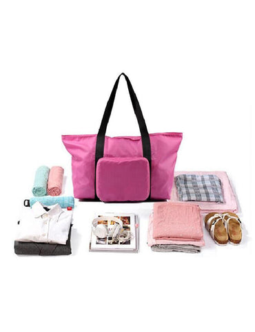 Pack n Fold Foldable Travel Tote Bag Pink