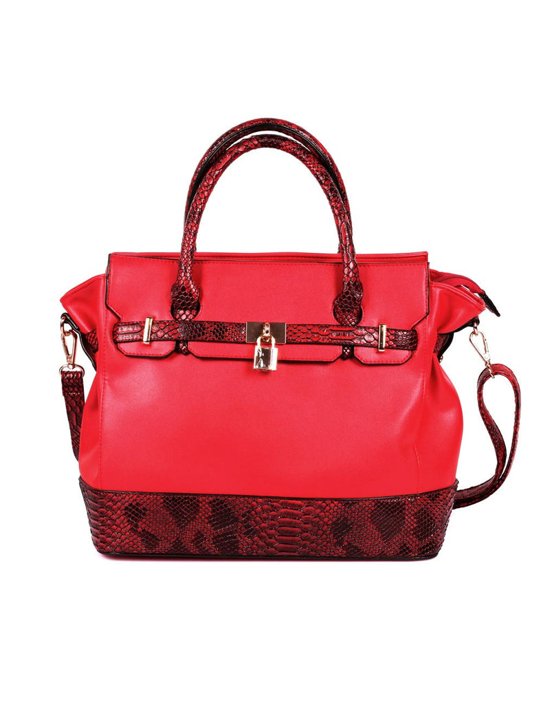 Julie Women's Satchel Bag Red Python