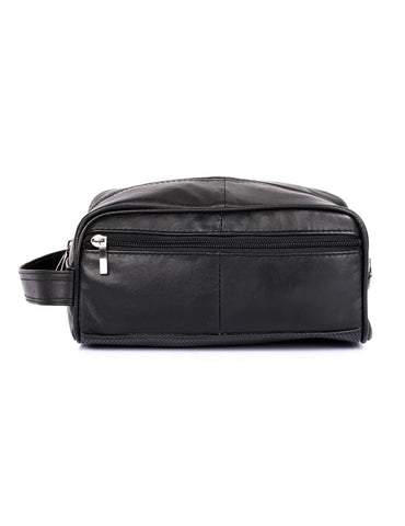 Men's Genuine Leather Travel Toiletry Bag Black