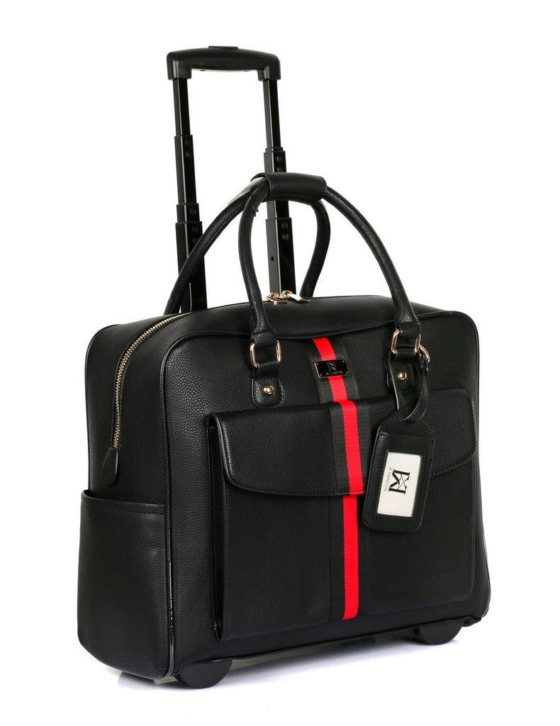 Travel Rolling Carry-on Luggage Black Red Stripe