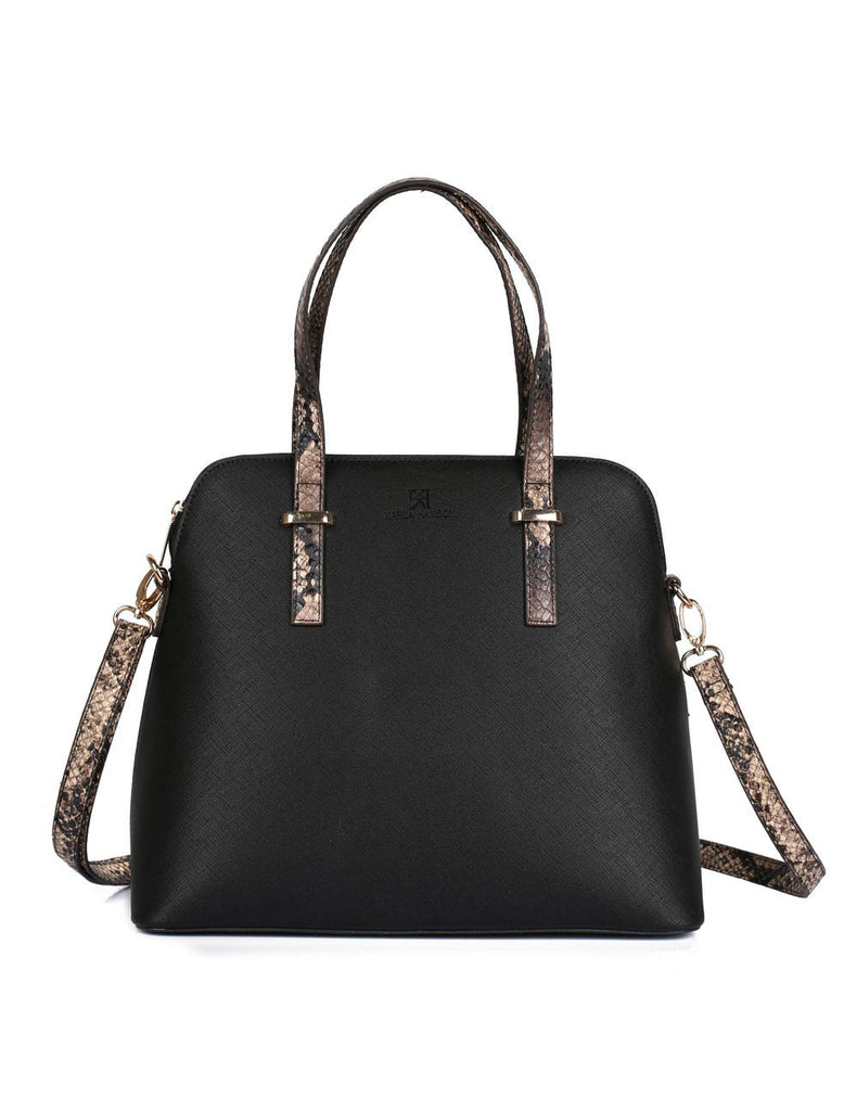 Dome Shaped Grace Women's Satchel Bag Black Python