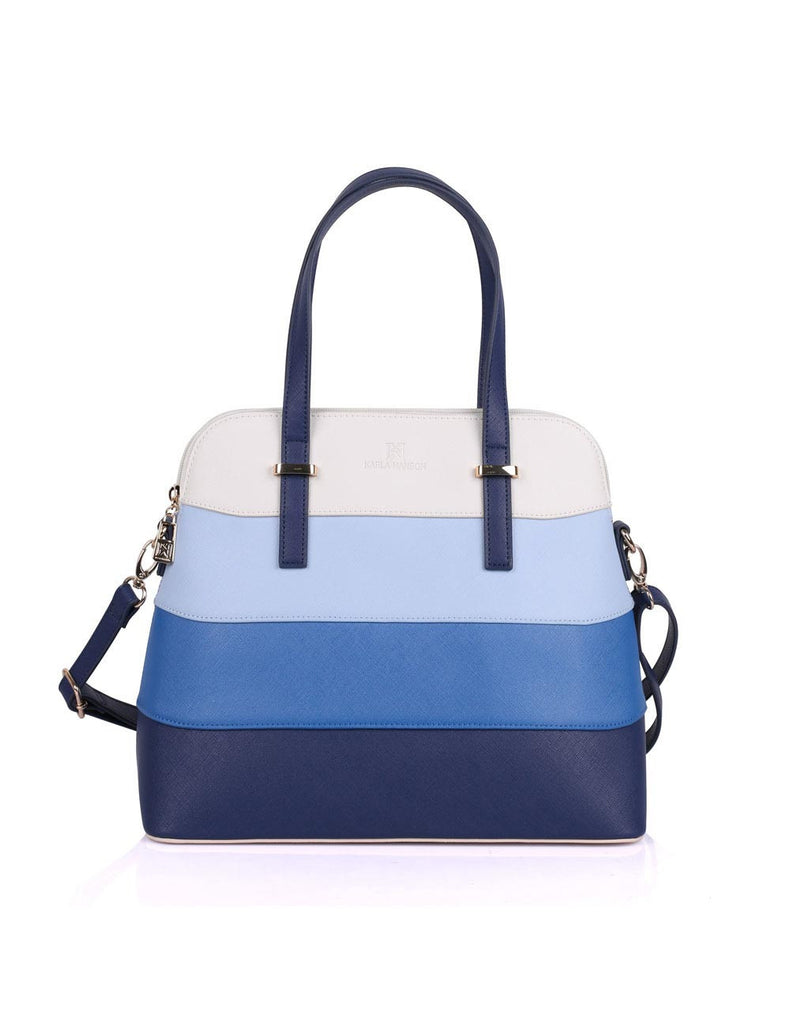 Dome Shaped Grace Women's Satchel Bag Blue Tone