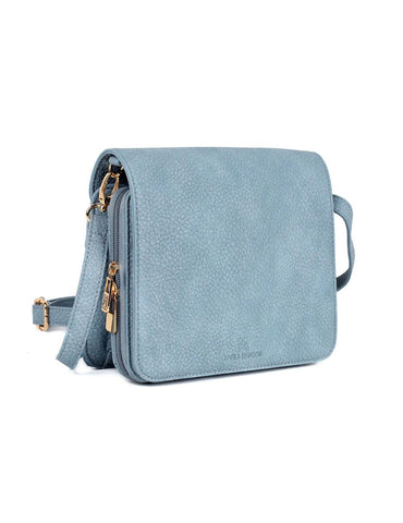 Linda Women's Crossbody Organizer Bag Blue Side - karlahanson.com