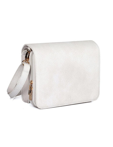 Linda Women's Crossbody Organizer Bag Ivory Side - karlahanson.com