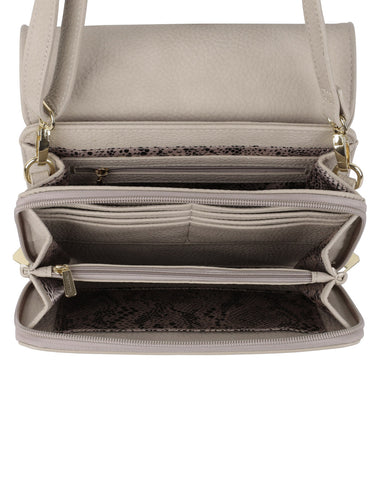 Madison Women's Crossbody Organizer Bag Taupe