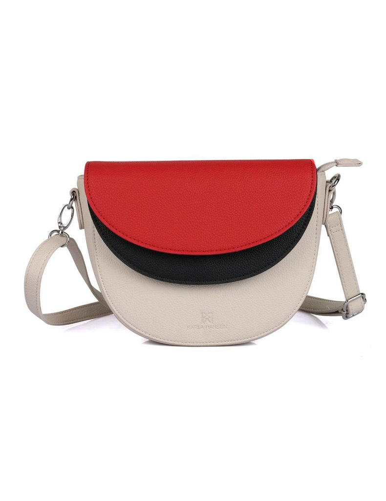 Linda Women's Saddle Crossbody Bag 3 Tone Red