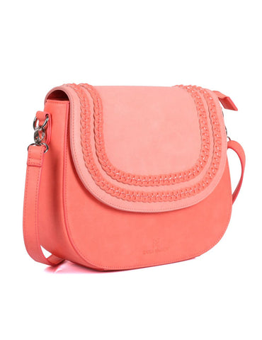Shere Women's Crossbody Saddle Bag Coral