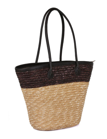 Women's Summer Beach Straw Bag Brown Natural